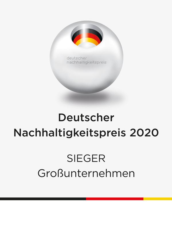 Siegersiegel Deutscher Nachhaltigkeitspreis 2020 in der Kategorie Großunternehmen